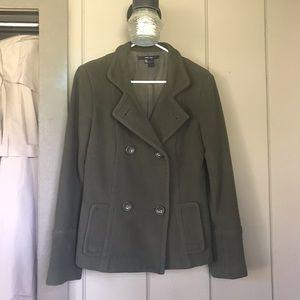 Zara Basic Olive Green Wool Peacoat Sz S